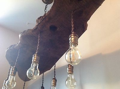 Live Edge Walnut Slab Chandelier / Rustic Black Walnut with Eight Edison Bulbs