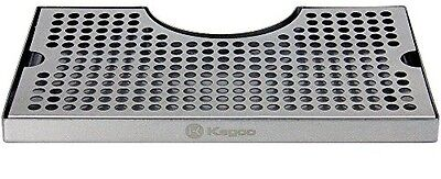 """Kegco Beer Drip Tray Stainless Surface Mount 3"""" Column Cut-Out w/ Drain"""