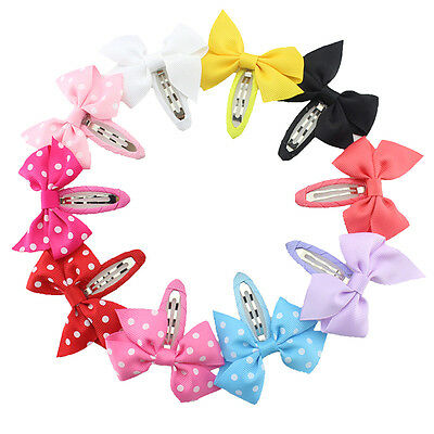 10pcs/Pack Girl baby Ribbon Bowknot Hair clips Accessories Kid Hairpins Colorful