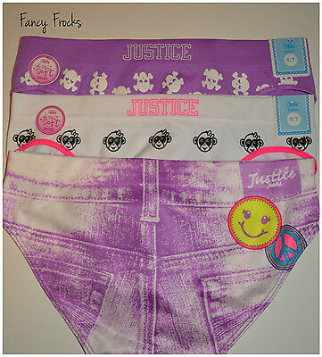 JUSTICE Girls Oh So Soft Bikini Panties, 3 Pairs, NWT, 6 7  Jeans Underwear