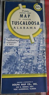 1960s Dolph's Indexed Street Map of TUSCALOOSA ALABAMA &Northport+Holt