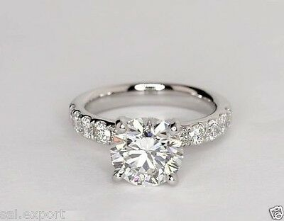 2.25 ct round d vvs1 diamond wedding engagement rings party 14k white gold over