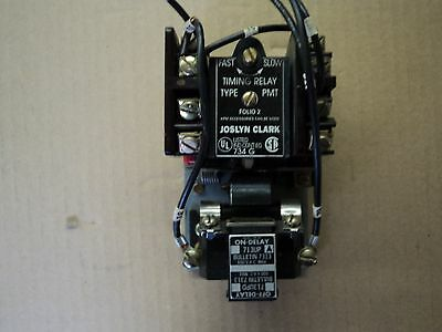 Joslyn Clark Timing Relay  713UP A On-Delay 440-480Vac Coil- Dual Contact Blocks