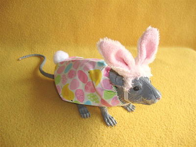Easter Bunny Costume with Pink Fuzzy Ears for Rat from Petrats