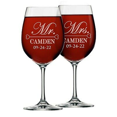 Custom Engraved Mr and Mrs Wine Glass Set for Wedding - Newlywed Gift for Couple