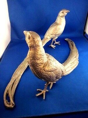 "Pair of Silver Metal Pheasant Figurines 6 1/2"" tall & 14"" long"