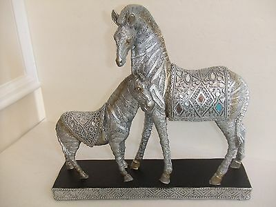 "Zebra Statue Mama & Baby with Mirror Inserts & Carvings Silver  11.5"" T 12.5"" W"