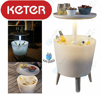 Keter 30 Litre Illuminated Coolbar Outdoor Party Drinks Serving Table Bar Cooler