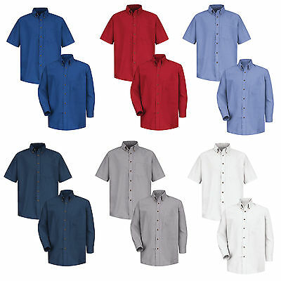 NEW! Red Kap Men's Industrial Poplin Dress Shirt Work Uniform Irregular SP80/90