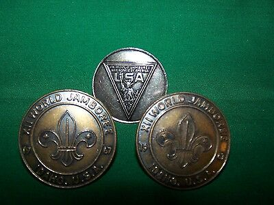LOT OF 3 BSA Metal Neckerchief Slides XII & Xll World Jamboree 1967 & 1971 Idaho