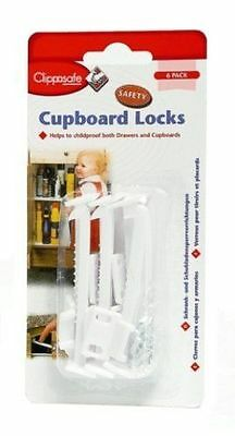 Clippasafe Cupboard Lock Child Baby toddler Lock 6 PACK Safety Proof