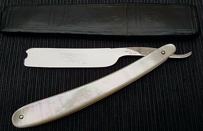 Unique Straight razor by Wade and Butcher Solid Mother of Pearl scales 11/16th