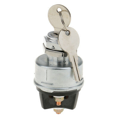 Silver Universal 3-Position Ignition Starter Key Switch with Momentary Start