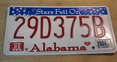 "2004 Alabama ""stars Fell On"" License Plate Expired 29 D 375 B"