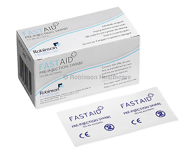 swabs fast-aid pre-injection alcotip wipes sterile NHS