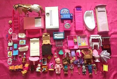 Lot of 65 Vintage Doll House Miniature Furniture-Figures-Accessories - Nice!