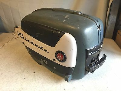 1957 EVINRUDE Fastwin 18 HP MOTOR COVER HOOD COWL  w/ Latches 204017, 204018