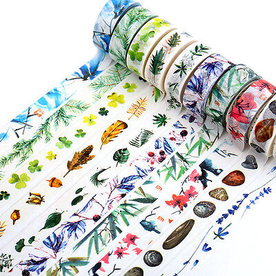 DIY Floral Washi Sticker Decor Roll Paper Masking Adhesive Tape Crafts 1.5cm*8m