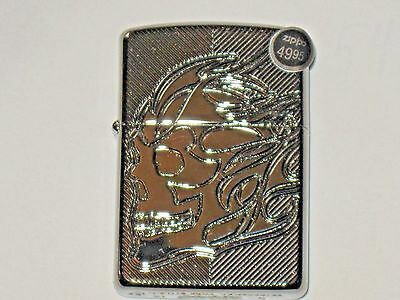 NEW USA ZIPPO Windproof Flame Oil Lighter 29230 Skull Armor Case HP Chrome Case