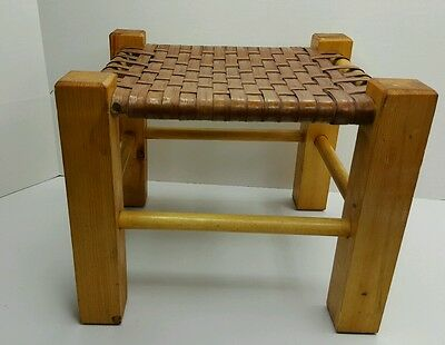 Camp Stool Wood and Wicker Foot Stool Rest Basket Weave