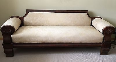 Antique American Empire Mahogany Couch Sofa