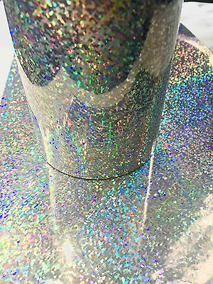 Silver Sequins Holographic Glitter Sign Vinyl 12 Inch x 4 Ft, Sparkle