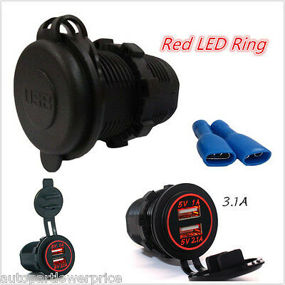 Dual Port USB Charger Power Adapter With Red LED Ring 12-24V 3.1A For Car Boat