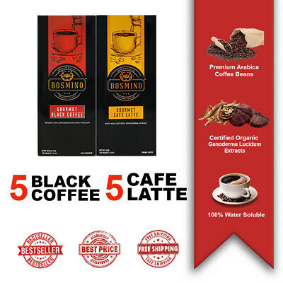 5 Boxes Issaline Gourmet Cafe Latte + 5 Boxes Issaline Black Coffee Ganoderma