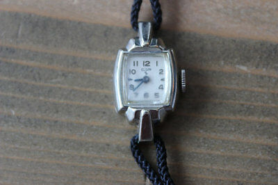 Rare Vintage Womens Elgin 10k White Gold Filled Blue Hand Watch WORKING!!!!!!