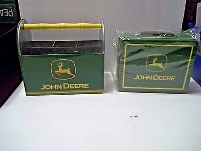 Metal Tin Holder & John Deere Advertising Lunchbox
