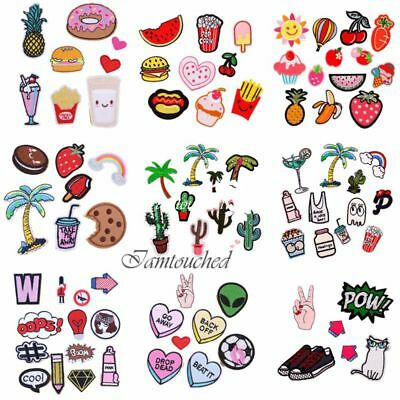 Embroidered Sew Iron On Patch Badge Set Hat Bags Fabric Applique Cloth Craft DIY