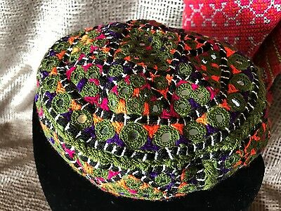 Old Central Asian Uzbekistan Embordered Cap …beautiful tribal collector's item