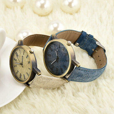 Men Women Fashion Leather Analog Bracelet Quartz Cowboy Wrist Watch Jewelry Gift