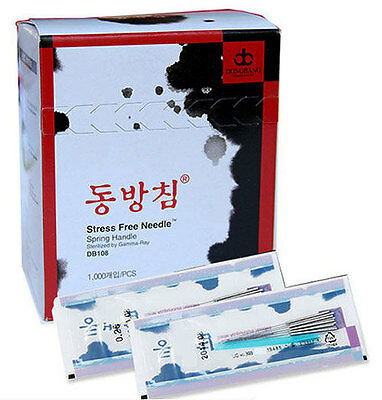 Dong Bang Disposable Acupuncture Spring Handle Sterilized Needles, x 1000pcs/Box