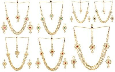 Indian Traditional Bollywood Gold Tone Kundan Bridal Party Fashion Jewellery Set
