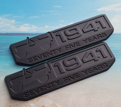 2pcs Black Metal 1941 75th Years Emblem Badge Decal Sticker for Jeep Wrangler