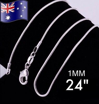 "925 Sterling Silver 1MM 24"" Classic Snake Necklace Chain Wholesale Bulk Price"