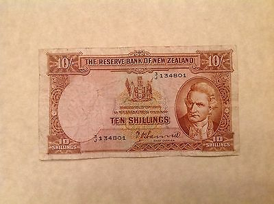 New Zealand Ten 10 Shillings P 158a 1940-55