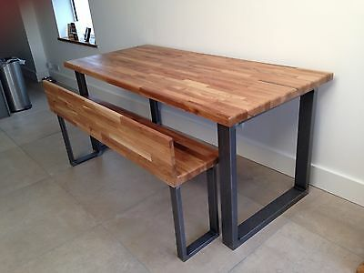 Steel and Oak dining room table / bench by STOAKED - Custom Sizes available
