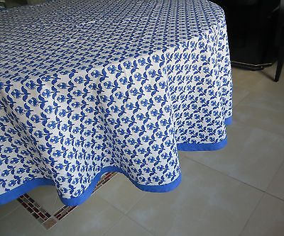 Vegetable dyed hand printed w/ wooden block petite Floral pattren Tablecloth