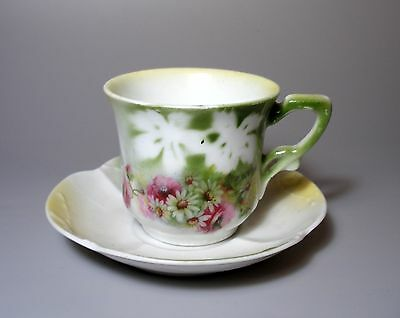 Antique Imperial Russian Porcelain KUZNETSOV Cup and Saucer Flowers Print