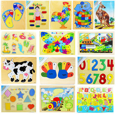 New Kids Educational Wooden Puzzle Jigsaw Toys Boys Girls Gifts Children