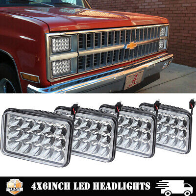 "4X6"" Crystal Clear Sealed Beam Led Projector Headlights - Chevy Pick Up 81-87 4P"