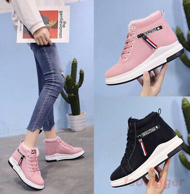 e1f92c334514 Womens Hidden Wedge High Heels Lace Up Ankle Boots Running Shoes Sneaker  Suede