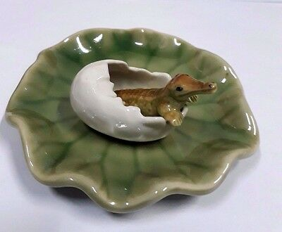 Miniature Baby Crocodile in Egg Ceramic Animal Figurine Collectibles Decor Home