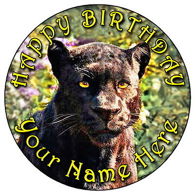"""Jungle Book Bagheera Panther - 7.5"""" Personalised Round Edible Icing Cake Topper"""