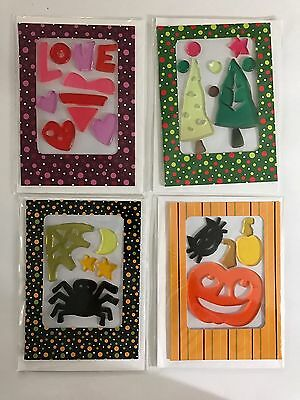 Lot Of 4 Greeting Cards Jelly Silicone 3D Halloween Christmas Valentine Window