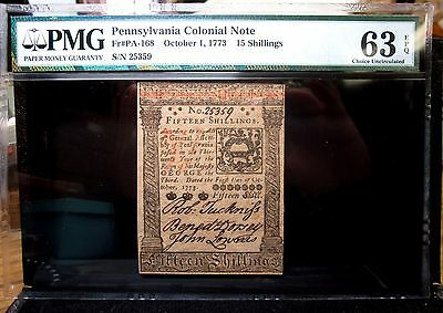 Colonial Currency ✪ Pennsylvania October 1 1773 ✪Pmg 63-Epq Pa-168 15S◢Trusted◣
