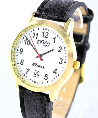 1d355320ac8b2 Ravel Gents Big Number Day Date Watch with Black Faux Leather Strap Gold  Tone