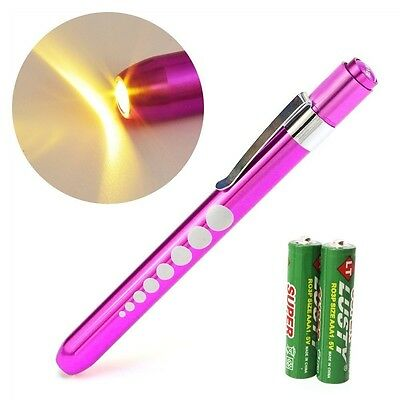 PINK Reusable NURSE Aluminum Penlight Pocket Medical LED Pupil Gauge+batteries